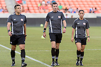 Houston, TX - Sunday June 19, 2016: Nick Uranga, Matthew Franz, Deleana Quan prior to a regular season National Women's Soccer League (NWSL) match between the Houston Dash and FC Kansas City at BBVA Compass Stadium.
