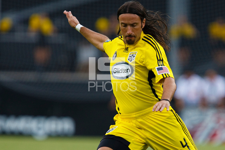 27 MAY 2009: #4 Gino Padula, Columbus Crew defender in action during the San Jose Earthquakes at Columbus Crew MLS game in Columbus, Ohio on May 27, 2009. The Columbus Crew defeated San Jose 2-1