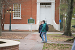 Students walk past the Croft Institute on their way to class.  Photo by Kevin Bain/University Communications Photography