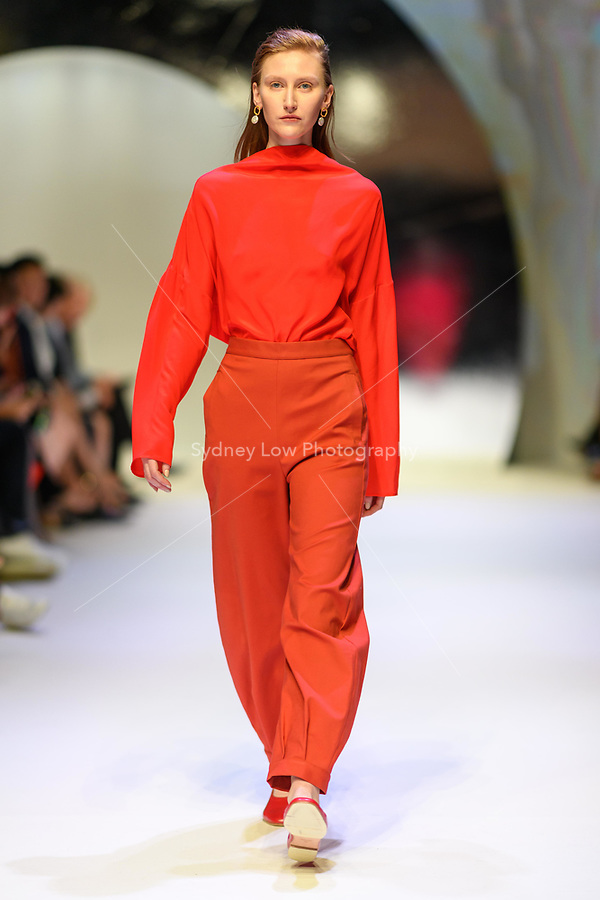 MELBOURNE - September 5, 2019: A model wearing Arnsdorf walks at the Town Hall Closing Runway show during Melbourne Fashion Week in Melbourne, Australia. Photo Sydney Low