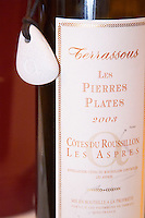 Terrassous Le Pierres Plates. Vignerons de Terrats cooperative. Cotes du Roussillon Les Aspres. Roussillon. France. Europe. Bottle.