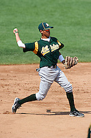 Hector Gutierrez #7 of Western International High School in Detroit, Michigan playing for the Oakland Athletics scout team during the East Coast Pro Showcase at Alliance Bank Stadium on August 3, 2012 in Syracuse, New York.  (Mike Janes/Four Seam Images)