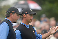 Ryder Cup 206 K Club, Straffin, Ireland...American Ryder Cup team players Phil Mickelson (L) and Chris DiMarco on the 10th fairway during the morning fourballs session of the second day of the 2006 Ryder Cup at the K Club in Straffan, Co Kildare, in the Republic of Ireland, 23 September 2006...Photo: Eoin Clarke/ Newsfile.