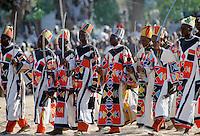Nigerian locals at tribal gathering durbar cultural event at Maiduguri in Nigeria, West Africa