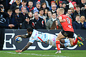 Racing 92's 13 scores a try against Ulster at the Kingspan Stadium, Belfast, Northern Ireland, 12 Jan 2019. Photo/Paul McErlane