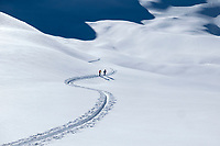 Ski tourers in a curvey skin track, in a wide open, white snowy landscape on the way to the Schwalmerer in the Jungfrau Region, Switzerland.