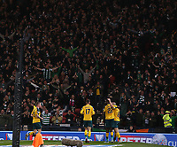 2nd November 2019; Hampden Park, Glasgow, Scotland; Scottish League Cup Football, Hibernian versus Celtic; Scott Brown of Celtic celebrates in front of the Celtic supporters after he scores in the 90th minute to make it 5-2 to Celtic - Editorial Use