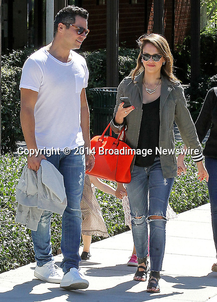 Pictured: Jessica Alba, Haven, Honor Marie, Cash Warren<br /> Mandatory Credit &copy; Isaac V/Broadimage<br /> Jessica Alba and family enjoying the day at the Coldwater Canyon Park<br /> <br /> 3/8/14, Beverly Hills, California, United States of America<br /> <br /> Broadimage Newswire<br /> Los Angeles 1+  (310) 301-1027<br /> New York      1+  (646) 827-9134<br /> sales@broadimage.com<br /> http://www.broadimage.com