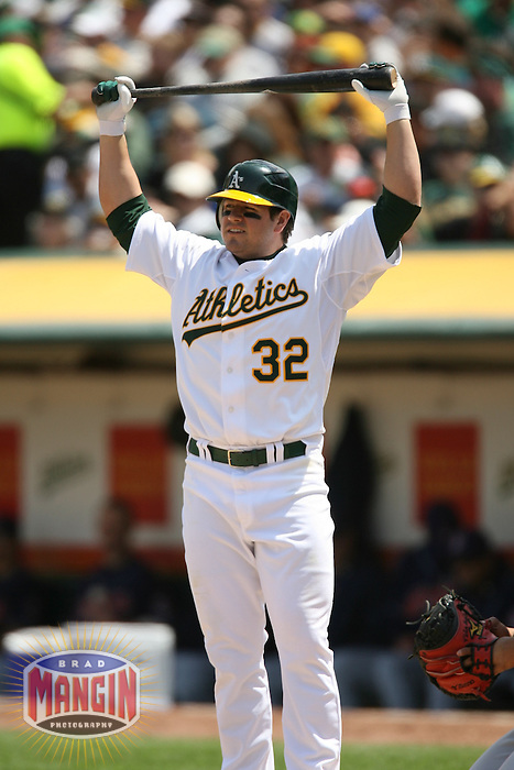OAKLAND, CA - May 12:  Jack Cust of the Oakland Athletics bats during the game against the Cleveland Indians at the McAfee Coliseum in Oakland, California on May 12, 2007.  The Indians defeated the Athletics 6-3.  Photo by Brad Mangin