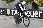 Chris Froome (GBR) Team Sky checks out the course before Stage 16 of the 2018 Giro d'Italia, a 34.2km individual time-trial from Trento to Rovereto the stage is a pivotal moment in the fight for the Corsa Rosa's GC, Italy. 21st May 2018.<br /> Picture: LaPresse/Fabio Ferrari | Cyclefile<br /> <br /> <br /> All photos usage must carry mandatory copyright credit (&copy; Cyclefile | LaPresse/Fabio Ferrari)
