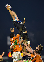 Zach Mercer of Bath Rugby wins the ball at a lineout. European Rugby Champions Cup match, between Benetton Rugby and Bath Rugby on January 20, 2018 at the Municipal Stadium of Monigo in Treviso, Italy. Photo by: Patrick Khachfe / Onside Images