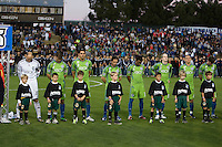 Seattle Sounders players are pictured during national anthem before the game against the Earthquakes at Buck Shaw Stadium in Santa Clara, California on April 2nd, 2011.   San Jose Earthquakes and Seattle Sounders are tied 2-2.