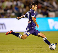 Rafael Marquez of the New York Red Bulls sends a ball long downfield. The New York Red Bulls beat the LA Galaxy 2-0 at Home Depot Center stadium in Carson, California on Friday September 24, 2010.