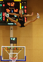 Big Air cheerleaders entertain the crowd during a break during the NBL match between the Wellington Saints and Christchurch Cougars at Te Rauparaha Stadium, Porirua, Wellington, New Zealand on Saturday 4 April 2009. Photo: Dave Lintott / lintottphoto.co.nz