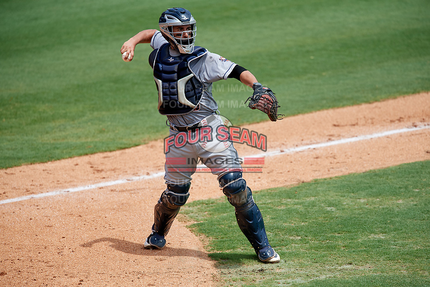 Lakeland Flying Tigers catcher Arvicent Perez (45) throws to first base during the first game of a doubleheader against the Clearwater Threshers on June 14, 2017 at Spectrum Field in Clearwater, Florida.  Lakeland defeated Clearwater 5-1.  (Mike Janes/Four Seam Images)