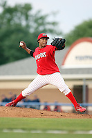 August 3rd 2008:  Pitcher Miguel Tapia of the Batavia Muckdogs, Class-A affiliate of the St. Louis Cardinals, during a game at Dwyer Stadium in Batavia, NY.  Photo by:  Mike Janes/Four Seam Images