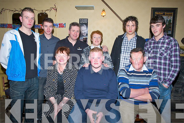 18Th: Tim Daly of Spa Tralee who held his 18th birthday in The Skelper bar, Blennerville on Saturday nightn with family and friends. Front l-r: Mary,Tim(birthday boy) and TJ Daly. Back l-r: Paul Sullivan,Luke Reidy, Tom Quane, Mary Breen, Robbie Hurley and David Kerins.. . ............................... ..........