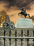 Andrew Jackson Monument with cannons in Lafayette Park or Presidents Park encompasses the White House, a visitor center Lafayette Park and The Ellipse Washington, D.C.   A statue of Andrew Jackson as he appeared following the Battle of New Orleans during the War of 1812 is located in Lafayette Park,..