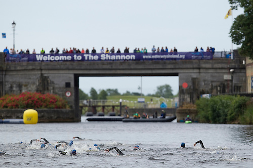 03 JUL 2010 - ATHLONE, IRL - Competitors head for the turn during the European Paratriathlon Championships .(PHOTO (C) NIGEL FARROW)