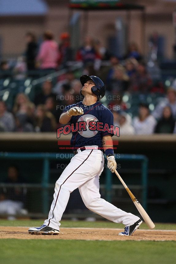 J.D. Davis (26) of the Lancaster JetHawks bats during a game against the San Jose Giants at The Hanger on April 11, 2015 in Lancaster, California. San Jose defeated Lancaster, 8-3. (Larry Goren/Four Seam Images)