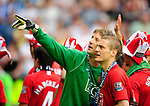 Edwin Van Der Sar and Nemanja Vidic celebrate during the Premier League match at The JJB Stadium, Wigan. Picture date 11th May 2008. Picture credit should read: Simon Bellis/Sportimage