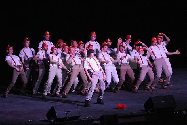 Phi Gamma Delta (FIJI) perform at Greek Sing 2015 at Memorial Coliseum Saturday, March 7, 2015 in Lexington. Photo by Joel Repoley | Staff