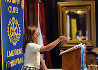 LANGHORNE, PA -  OCTOBER 24: Maria Platero, 14, a student at St. Andrews School in Newtown speaks about her school's bank at the Langhorne Rotary luncheon October 24, 2013 in Langhorne, Pennsylvania. 5 young ladies spoke about Financial Literacy programs at Saint Andrews school in Newtown Township. (Photo by William Thomas Cain/Cain Images)
