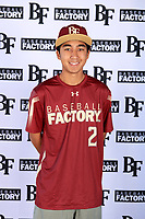 Kaysen Kajiwara (2) of Damien Memorial Schools in Mililani, Hawaii during the Baseball Factory All-America Pre-Season Tournament, powered by Under Armour, on January 12, 2018 at Sloan Park Complex in Mesa, Arizona.  (Mike Janes/Four Seam Images)