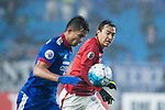Guangzhou Defender Feng Xiaoting (R) in action during the AFC Champions League 2017 Group G match Between Suwon Samsung Bluewings (KOR) vs Guangzhou Evergrande FC (CHN) at the Suwon World Cup Stadium on 01 March 2017 in Suwon, South Korea. Photo by Victor Fraile / Power Sport Images