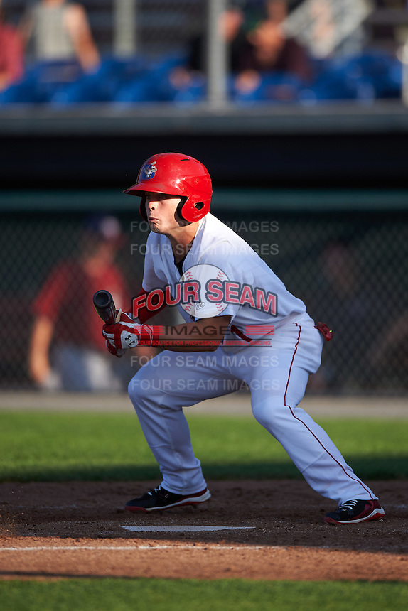 Auburn Doubledays second baseman Dalton Dulin (1) lays down a bunt during a game against the Mahoning Valley Scrappers on July 17, 2016 at Falcon Park in Auburn, New York.  Mahoning Valley defeated Auburn 3-2.  (Mike Janes/Four Seam Images)