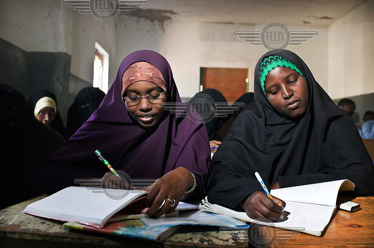 Young women studying in a class at Mogadishu University.