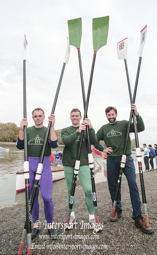 Putney. London. GREAT BRITAIN;  left to right. Frans GOEBEL, Niall O&rsquo;TOOLE and Peter HAINING.<br /> <br /> 1995 Thames World Sculling Championships, Putney to Mortlake. Championship Course, River Thames.<br /> <br /> [Mandatory Credit; &quot;Photo, Peter Spurrier/Intersport-images]