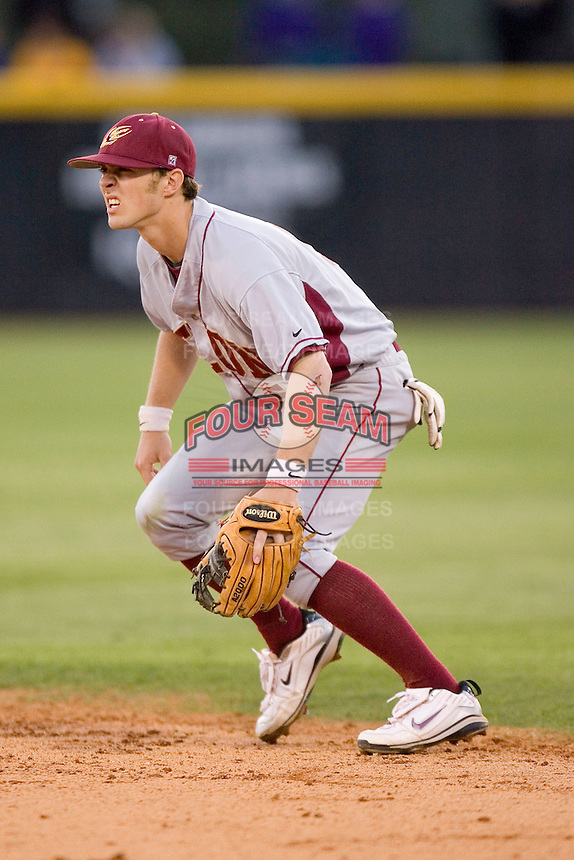 Second baseman Zeth Stone #5 of the Elon Phoenix on defense versus the East Carolina Pirates at Clark-LeClair Stadium March 29, 2009 in Greenville, North Carolina. (Photo by Brian Westerholt / Four Seam Images)