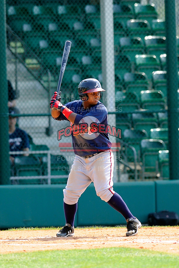Infielder Luis Monasterio (66) of the Atlanta Braves farm system in a Minor League Spring Training intrasquad game on Wednesday, March 18, 2015, at the ESPN Wide World of Sports Complex in Lake Buena Vista, Florida. (Tom Priddy/Four Seam Images)