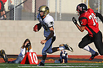 Palos Verdes, CA 11/10/10 - Matt Imwalle (Peninsula #17) and Griffin Hitzel (Palos Verdes # 78) in action during the junior varsity football game between Peninsula and Palos Verdes at Palos Verdes High School.