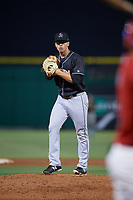 Jupiter Hammerheads relief pitcher Alejandro Mateo (17) gets ready to deliver a pitch during a game against the Clearwater Threshers on April 9, 2018 at Spectrum Field in Clearwater, Florida.  Jupiter defeated Clearwater 9-4.  (Mike Janes/Four Seam Images)