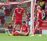 05.08.18 Aberdeen v Rangers: Scott McKenna holds his leg and goes off injured