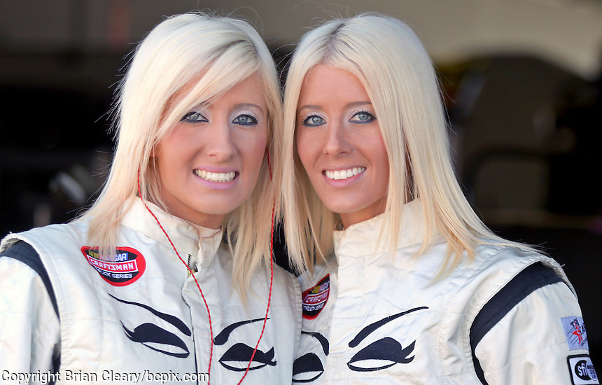 Angela Cope, L, and Amber Cope, nieces of NASCAR driver Derrike Cope, ARCA testing at Daytona International Speedway, Daytona Beach, FL, December 2009.  (Photo by Brian Cleary/www.bcpix.com)
