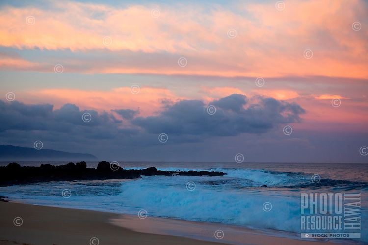 An early morning seascape on the North Shore of O'ahu.
