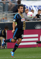 CHESTER, PA - OCTOBER 27, 2012:  Danny Cruz (44) of the Philadelphia Union brings down a high ball against the New York Red Bulls during an MLS match at PPL Park in Chester, PA. on October 27. Red Bulls won 3-0.