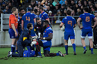 Dany Priso is checked by medical staff during the Steinlager Series international rugby match between the New Zealand All Blacks and France at Westpac Stadium in Wellington, New Zealand on Saturday, 16 June 2018. Photo: Dave Lintott / lintottphoto.co.nz
