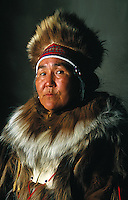 Aleut man with traditional hat. Alaska.