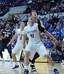 March 1, 2016 - Colorado Springs, Colorado, U.S. -   Air Force center, Zach Moer #41, controls the lane during an NCAA basketball game between the Utah State University Aggies and the Air Force Academy Falcons at Clune Arena, United States Air Force Academy, Colorado Springs, Colorado.  Utah State defeats Air Force 78-65.