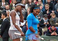 Paris, France, 29 June, 2016, Tennis, Roland Garros, doubles Venus Williams (USA) (L) and her sister Serena,  <br /> Photo: Henk Koster/tennisimages.com