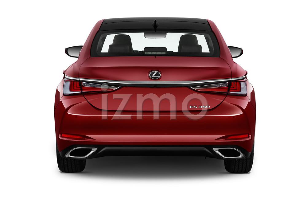 Straight rear view of a 2020 Lexus ES 350 4 Door Sedan stock images