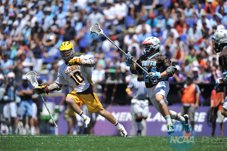 30 MAY 2010:  Kyle Gallagher (10) of Salisbury University avoids Alec Bialosky (24) of Tufts University during the Division III Men's Lacrosse Championship held at M+T Bank Stadium in Baltimore, MD. Tufts defeated Salisbury 9-6 for the national title. Larry French/NCAA Photos
