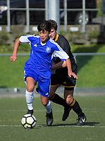 Action from the Wellington secondary schools 1st XI football match between Wellington College and St Patrick's College Town at Wellington College in Wellington, New Zealand on Wednesday, 30 May 2018. Photo: Dave Lintott / lintottphoto.co.nz