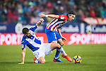 Filipe Luis (r) of Atletico de Madrid competes for the ball with Lluis Sastre Reus of Deportivo Leganes during their La Liga match between Atletico de Madrid and Deportivo Leganes at the Vicente Calderón Stadium on 04 February 2017 in Madrid, Spain. Photo by Diego Gonzalez Souto / Power Sport Images