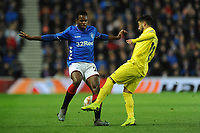 Lassana Coulibaly of Rangers battles for the ball with Jaume of Villarreal CF during Rangers vs Villarreal CF, UEFA Europa League Football at Ibrox Stadium on 29th November 2018