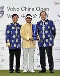 SUZHOU, CHINA - APRIL 18:  Y.E. Yang (C)  of Korea poses with Zhang Xiao Ning (L), Chairman of China Golf Association, and Per Ericsson President & CEO of Volvo Event Managment after winning the Volvo China Open on April 18, 2010 in Suzhou, China. Photo by Victor Fraile / The Power of Sport Images